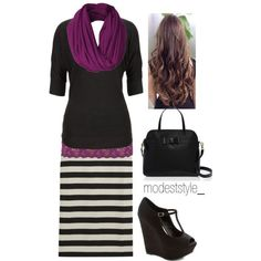 cool Purple and stripes...don't like the shoes or the purse...