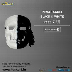 Get 27% off on PIRATE SKULL BLACK WHITE. Available at Funcart-http://goo.gl/M3aKgc   #Funcart #DealOfTheDay #Party #Fun #PartySupplies