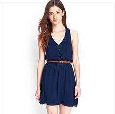 A super cute dress with chiffon and belt. #marin #dress