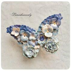 アンティークブルーの蝶々(クリップ) レース編み