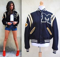 bdfc99a92f Vintage 70s Black and Gold Wool Letterman Jacket