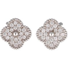 Pre-owned Van Cleef & Arpels Diamond Alhambra Earrings (905,470 DOP) ❤ liked on Polyvore featuring jewelry, earrings, 18 karat gold earrings, diamond jewelry, 18k diamond earrings, round earrings and pre owned jewelry