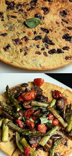 Kalamata Olive and Herb Socca with Roasted Vegetables - Gluten-free + Vegan - Tasty Yummies Italian Cooking, Italian Recipes, Vegan Gluten Free, Vegan Vegetarian, Chickpea Flour Recipes, Appetizer Recipes, Appetizers, Pisa Italy, Chicka Chicka