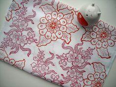 Linen Tea towel block printed Ornate Sakura Cherry by papatotoro, $23.00