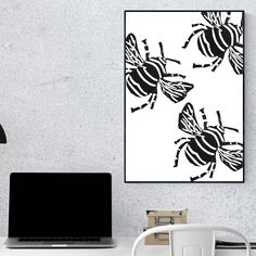 Three Bee's black and white modern art print. Beautiful poster for hanging and framing, made up of three bee's in an interesting composition. Nature Posters, Beautiful Posters, Modern Art Prints, Composition, Bee, House Design, Black And White, Home Decor, Honey Bees
