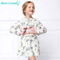 US $10.42 Bear Leader girls dress 2016 New Autumn European and American Style long sleeve Floral dress Blue and white porcelain Pattern aliexpress.com