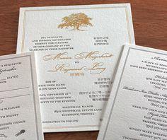 Elegant gold foil and grey letterpress ink wedding invitation with vintage style oak tree and classic border.  | Invitations by Ajalon | invitationsbyajalon.com