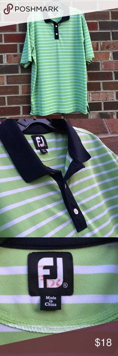 """FootJoy FJ men's gold polo shirt Excellent condition! Men's golf polo FootJoy FJ shirt. Bright green and white stripes with navy blue accents. Size tag has been removed, I believe it's a size XXL. Some red pen marks on the inner FJ tag. Measures approx 32"""" from shoulder to hem, 21"""" shoulder to shoulder, and 25"""" wide. FootJoy Shirts Polos"""