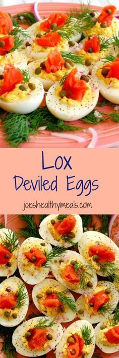 Lox deviled eggs collage.  This is a delicious twist to traditional deviled eggs.  The recipe has plenty of smoked salmon flavor, combined with salty capers and tangy red onion. With cream cheese and fresh dill, it is yummy! | joeshealthymeals.com