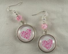 Pink heart earrings,Pink earrings,Silver drop earrings,Glass cabochon earrings,Pink heart dangle, by CapricesDeParisienne on Etsy