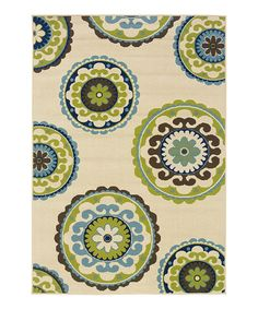 Ivory & Green Transitional Rug