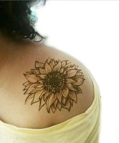 Fantastic Sunflower Shoulder Tattoos for Women