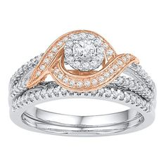 10kt Two-tone Gold Womens Round Diamond Bridal Wedding Engagement Ring Band Set 1/2 Cttw #diamondweddingbands
