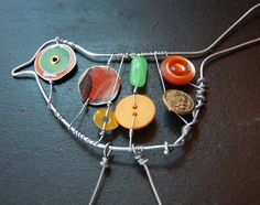 wire art, use found forest objects to add in, use gimlet tool/bradawl for holes. Wire art, use found forest objects … Wire Crafts, Fun Crafts, Crafts For Kids, Arts And Crafts, Button Art, Button Crafts, Crafts With Buttons, Found Object Art, Bird Ornaments