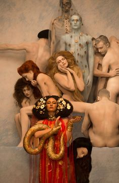 inge prader brings gustav klimt paintings to life using models and props