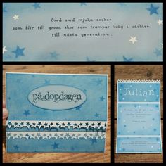 Scrappat detta dopkort till en pojke. Created this christening /baptism card to a boy.  CS Bazzill white and Reprint /Paper Accents water fall. Distressed with Tim Holtz salty ocean. Star stencil from memory box. Stamp inkido. Ink versafine onyx black. Embossing Reprint skylight powder. Dies cuttlbebug Olivia. Star edge punch Martha Stewart. Text handwritten by www.kirsi.nu