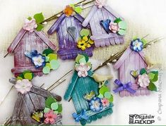 26 cute and easy craft ideas using ice cream stick Popsicle Stick Birdhouse, Popsicle Stick Art, Popsicle Stick Crafts, Craft Stick Crafts, Crafts To Make, Fun Crafts, Crafts For Kids, Arts And Crafts, Plate Crafts