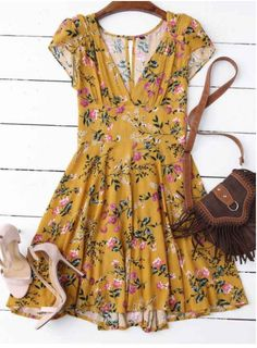 Floral Plunging Neck Yellow Cut Out Dress