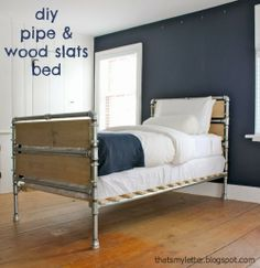 Pipe & Wood Slats Bed, free build plans