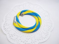 FREE SHIPPING Yellow blue necklace Ukrainian flag necklace ukrainian necklace ukrainian flag Ukrainian ornament ukrainian gift gift for her - pinned by pin4etsy.com
