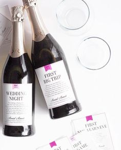 """Bridal Shower Gift Idea: Married Milestone Wine and Champagne Labels. Great for Wedding Gifts and Bridal Shower Gift Baskets. Bridal Shower Gift, Wedding Gift Idea, Marriend Firsts, Custom Wine Labels, Wedding Wine. <a href=""""http://www.labelwithlove.com"""" rel=""""nofollow"""" target=""""_blank"""">www.labelwithlove...</a>"""
