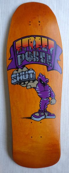 Vintage original Shut NYC Skateboard deck Zoo York Supreme gold orange stain #ZooYork