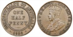 Australia's 1923 Halfpenny one of our most important and rarest pre-decimal coins. Old Coins, Rare Coins, Australian Money, Coins Worth Money, Valuable Coins, Rare Stamps, Coin Worth, Penny Coin, Mint Coins
