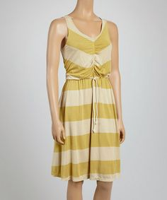 Look what I found on #zulily! Gold & Dune Stripe Tie-Front Dress by Covet #zulilyfinds