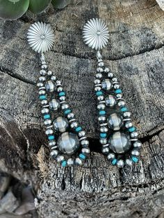 Navajo, Dangle Earrings, Ethnic, Dangles, Turquoise Accents, Tribal Jewelry, Native American Jewelry, Beads, Sterling Silver