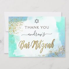 Modern elegant Bar Mitzvah thank you card featuring watercolor blue background and gold confetti on the sides. Personalize with your message and name. Watercolor Blue Background, Ombre Background, Gold Watercolor, Watercolor Texture, Textured Background, Bar Mitzvah Invitations, Invites, Teal And Gold, Gold Confetti
