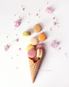 French macarons in an ice cream cone. Cookie still life :) Fine Art Print - Professionally printed upon order. My photographs are professionally printed with archival inks on premium acid-free paper,