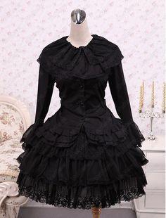 Cotton Black Cosplay Lolita Dress - http://www.vudress.com/