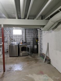 Spraying a basement ceiling is the quickest way to make it look great on a budget. This unfinished basement is painted a gray-blue color that softens the industrial feel. Unfinished Basement Walls, Unfinished Basement Ceiling, Low Ceiling Basement, Basement Painting, Open Basement, Basement Flooring, Ceiling Painting, Basement Ideas, Basement Finishing