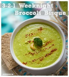 Weeknight Broccoli Bisque (I made this with an avocado and hemp milk instead of cashews and broth. The broccoli taste got drowned out. I might try the actual recipe later. Vegan Keto Recipes, Vegan Blogs, Healthy Recipes, Healthy Soups, Vegan Soups, Healthy Eating, Clean Eating, Paleo, Soup Recipes