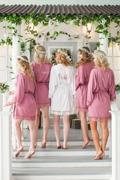 New Bridesmaid Robes Womens Sleepwear Robes — Bridelily Bridal Party Robes, Bridal Gowns, Wedding Dresses, Bridesmaid Robes, Brides And Bridesmaids, Rose Gold Bridesmaid, Wedding Preparation, Sleepwear Women, Maid Of Honor