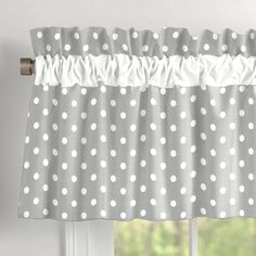 Sewing Curtains Gray and White Dots and Stripes Window Valance Rod Pocket made with care in the USA by Carousel Designs. Measures approximately wide by tall. - Window Treatment in Gray and White Dots and Stripes by Carousel Designs. No Sew Curtains, Window Curtains, Curtains With Valance, Bedroom Curtains, Diy Bedroom, Country Curtains, Trendy Bedroom, Rideaux Shabby Chic, Kitchen Organization