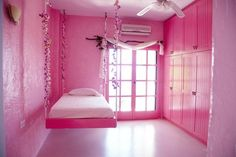Pink bedroom ideas combined with beauteous furniture and accessories with smart decor 7 Pink Bedrooms, Girls Bedroom, Pink Furniture, Hanging Beds, Rosa Pink, Home Bedroom, Bedroom Ideas, Bedroom Stuff, Everything Pink
