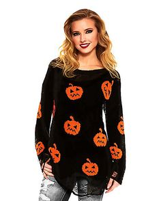 You'll look neat in knit! This simple but stylish pumpkin sweater makes for the perfect minimalist costume! The sweater features jack-o'-lantern design and distressed details for a look that is perfect for accessorizing however you please! Halloween Outfits For Women, New Halloween Costumes, Halloween Clothes, Halloween Queen, Halloween Shirt, Halloween Town, October Outfits, Fall Outfits, Cute Outfits