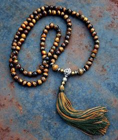 Tiger Eye Mala necklace decorated with Mookaite (Jasper), Hematite and copper and metal parts - Made by look4treasures