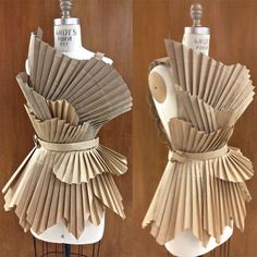 Trashion Runway Show entry 2013. Using an assortment of brown paper grocery bags and toilet paper rolls, this garment was pleated and constructed out of discarded materials for an eco-friendly and avant-garde design. Wearable ArtRecycleTrashionEco-Fa…