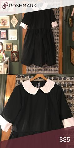 Wednesday Addams dress 🕷 Super awesome vintage Wednesday Addams style dress.  Excellent condition.  Zips in the back.  Great for Halloween, cosplay, or whatever because it's super rad.  No size, and no stretch.  I'm assuming it's a size 14/16, but measurements are available upon request 😊 Vintage Dresses Midi