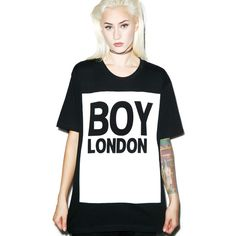 BOY London Boy London Standard Box Tee (€45) ❤ liked on Polyvore featuring tops, t-shirts, crewneck t-shirt, boy london t shirt, white tee, crew neck t shirt and short sleeve t shirts