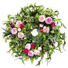 Spring Peony Wreath Are you ready for Spring? I think we are all and if you are looking for the perfect spring wreath I have just what you need. This beautiful Pink Peony Wreath will be just what you need to brighten up you home and be ready for spring. Greenery Wreath, Floral Wreath, Wreath Bows, Grapevine Wreath, Spring Front Door Wreaths, Spring Wreaths, Pink Peonies, Peony, Eucalyptus Wreath