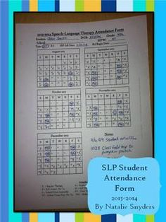 Need a way to keep track of your students' attendance?  This free two-page form for SLPs is perfect to get you started for the 2013-2014 school year!  **UPDATED FOR 2014-2015**