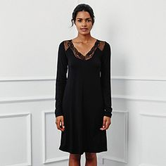 V Lace Trim Jersey Nightie - Black