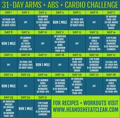 Sculpt your arms and abs with this 31-Day Arms, Abs Cardio Challenge, Cardio Routine, Exercise Routines, Fitness Herausforderungen, Cardio Fitness, Fitness Motivation, Health Fitness, 12 Week Workout, Workout Abs