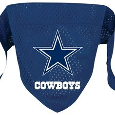 NFL dog bandana decorated with official Dallas Cowboys logo. Dog bandana features a sewn in loop to slide over dog collar and is constructed in micro mesh polyester.