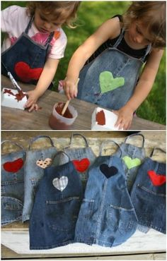 tablier pour les enfants en jeans diy apron for kids in jeans diy Jean Crafts, Denim Crafts, Jean Diy, Diy Jeans, Denim Ideas, Sewing Aprons, Sewing Jeans, Kids Apron, Recycled Denim