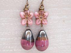 Daisy Earrings, Ceramic Earrings, Czech Glass Earrings, Magenta Earrings, Dusky Pink Earrings, Vintage Style Earrings, Droplet Earrings. by DawnSneesbyJewellery on Etsy