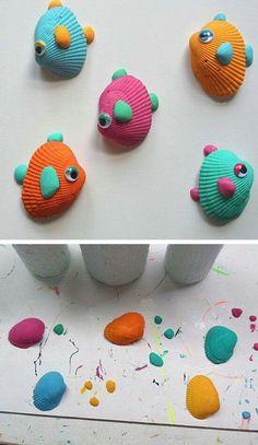 Diy crafts for kids tropical seashell fish craft click pic for summer crafts for kids to . diy crafts for kids Summer Crafts For Kids, Summer Activities For Kids, Crafts For Kids To Make, Craft Activities, Diy And Crafts, Arts And Crafts, Summer Art, Kids Fun, Creative Crafts